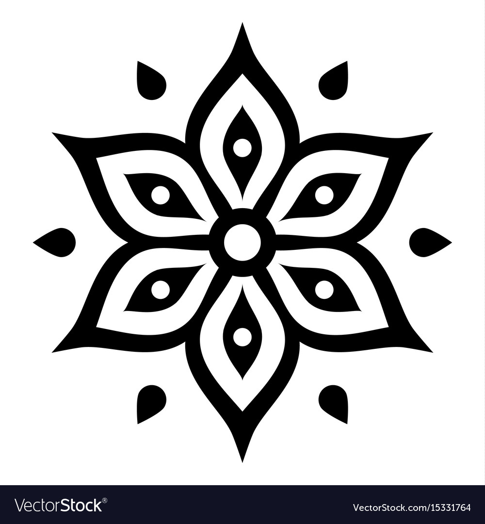 Boho Flower Design Inspired By Mehndi Indian Vector Image