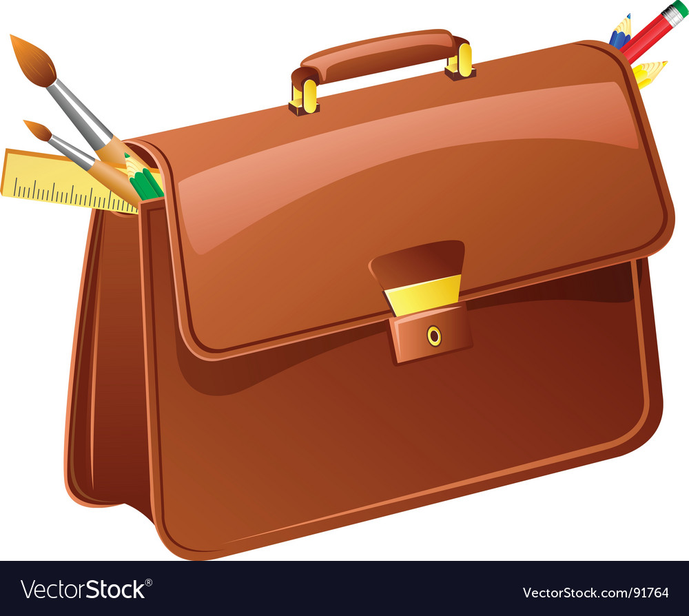 Briefcase with pencils and brushes vector image