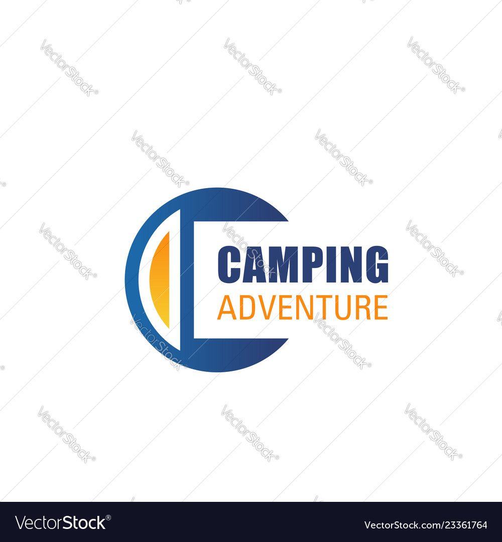 C letter icon for camping adventure