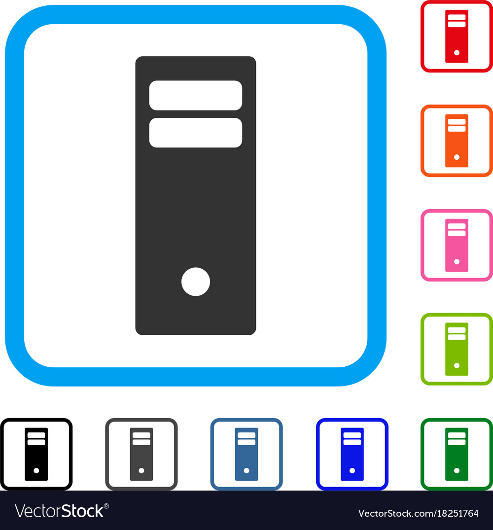 Computer mainframe framed icon Royalty Free Vector Image