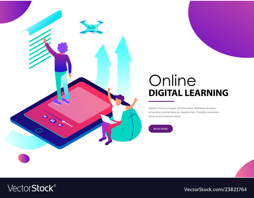 Online digital learning landing web page template