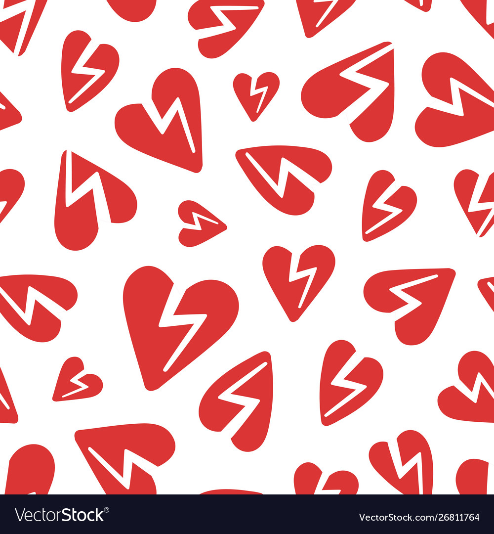 Red broken hearts pattern