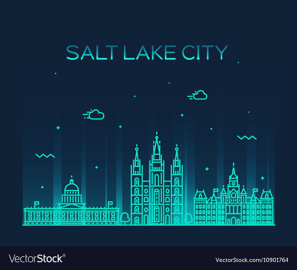 Salt Lake city skyline Utah linear style