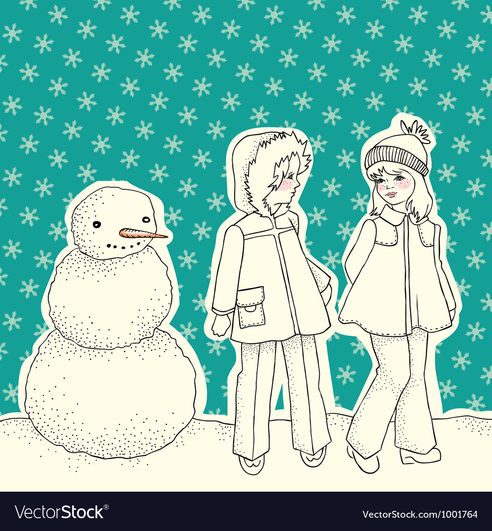 Snowman with children vector image