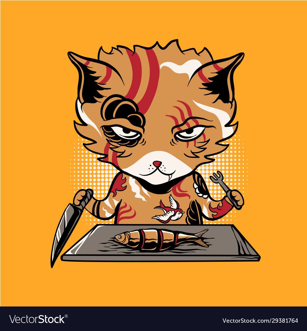 Yakuza cat eating fish