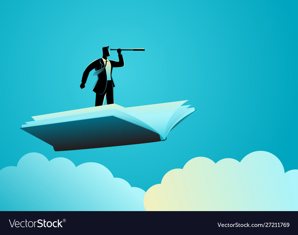 Businessman using telescope on flying book
