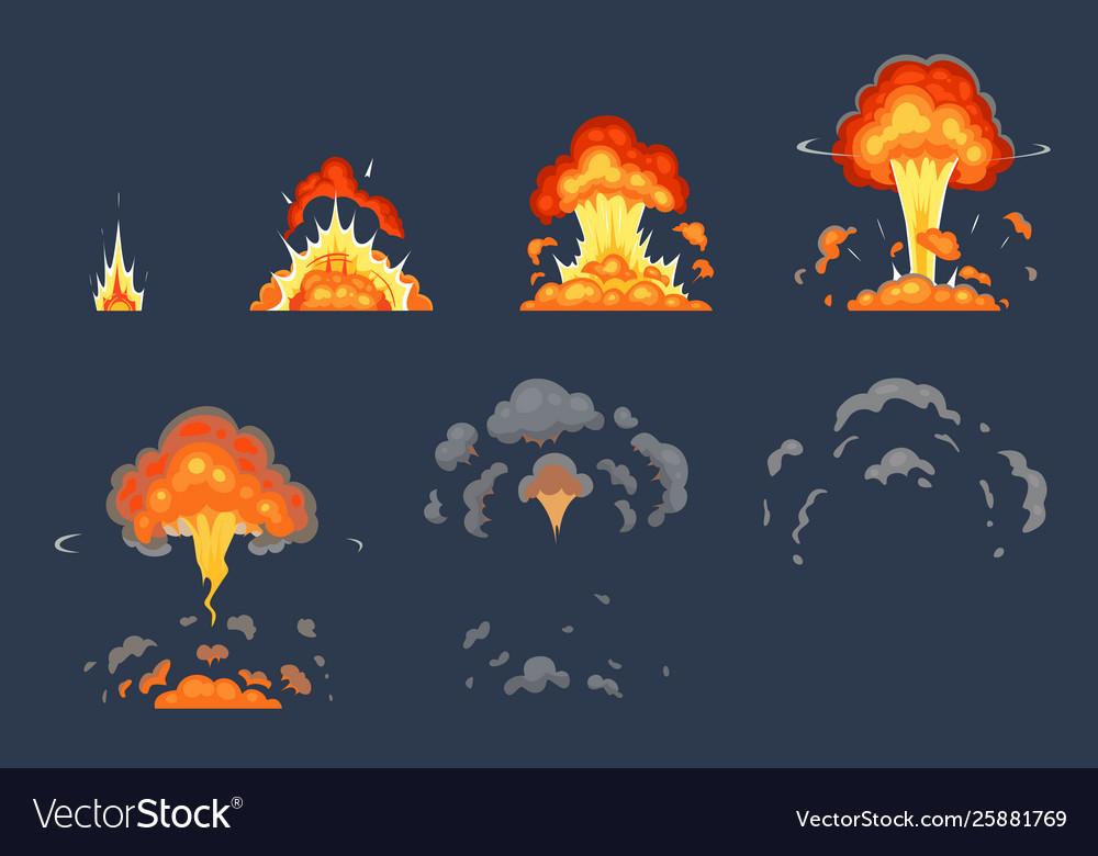 Cartoon bomb explosion animation exploding