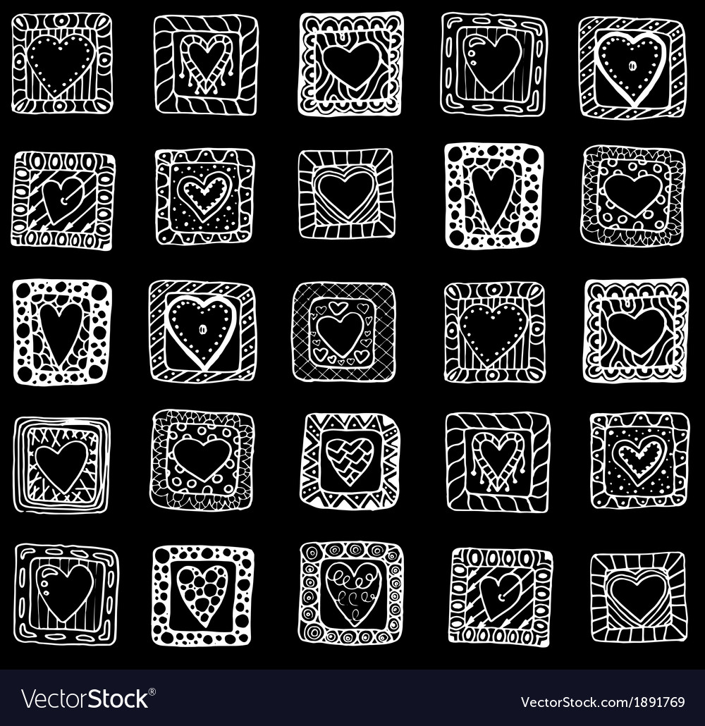 Collection of original drawing doodle hearts
