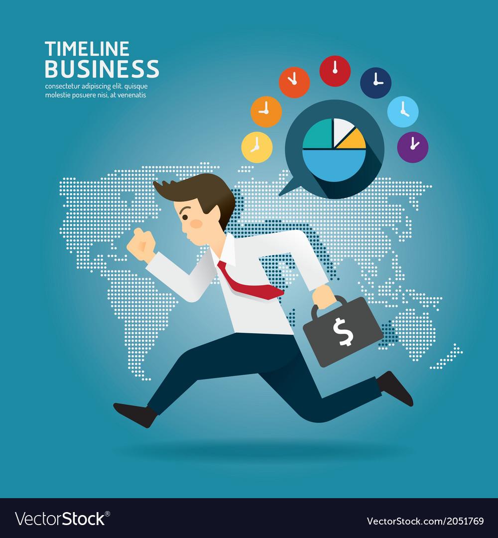 Concept of successful Timeline businessman cartoon
