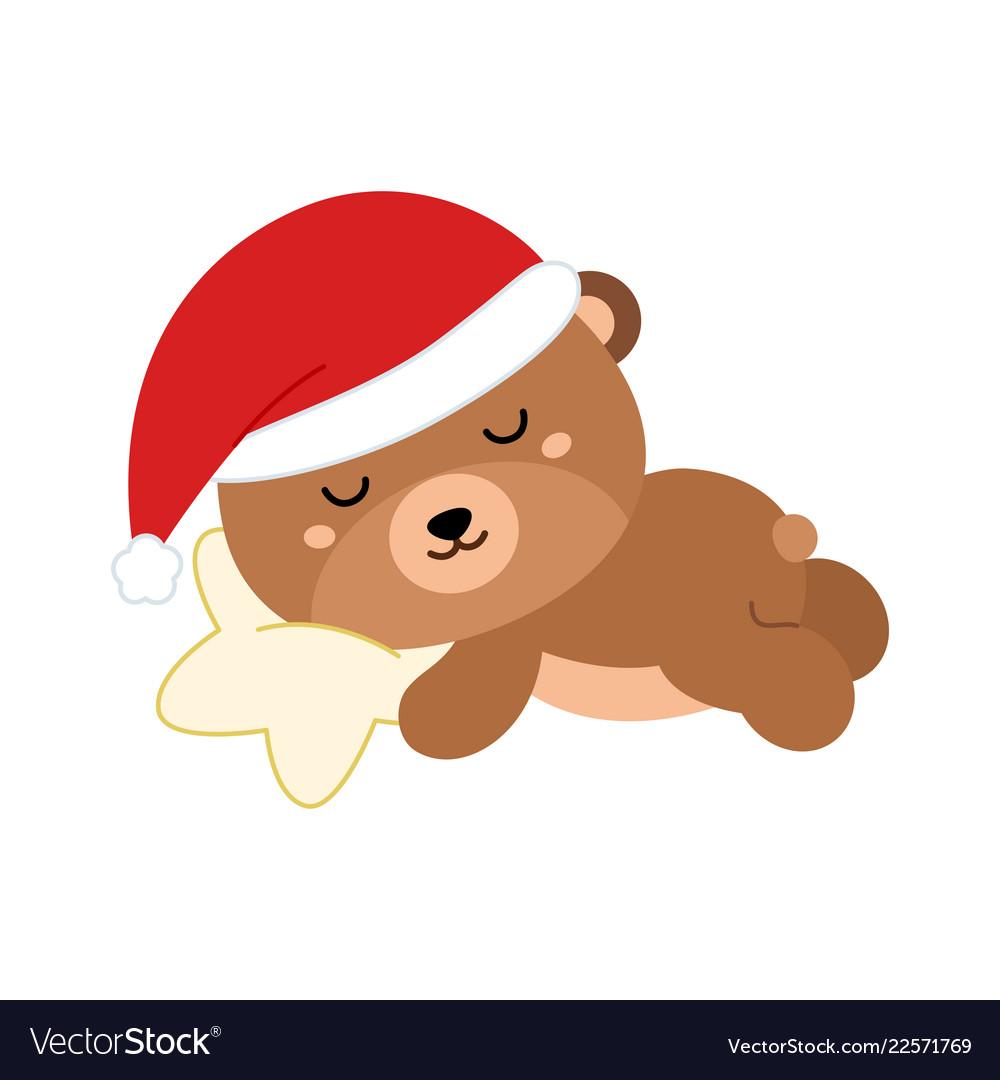 Cute flat bear in christmas hat sleeping on star
