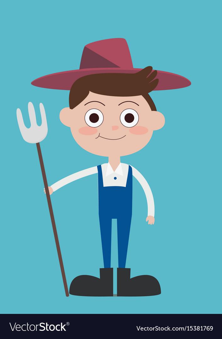 Cute flat farmer cartoon characters wear blue