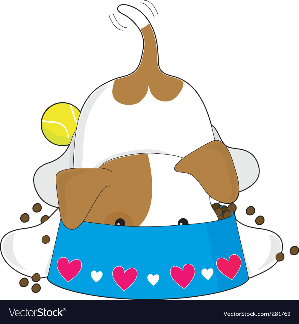 Cute puppy eating vector image