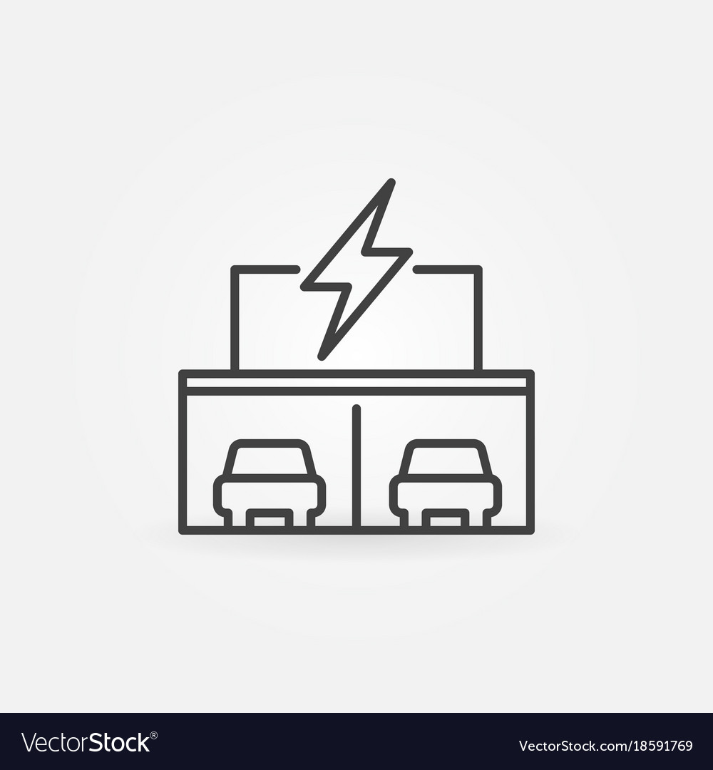 Electric car dealership store building line icon vector image