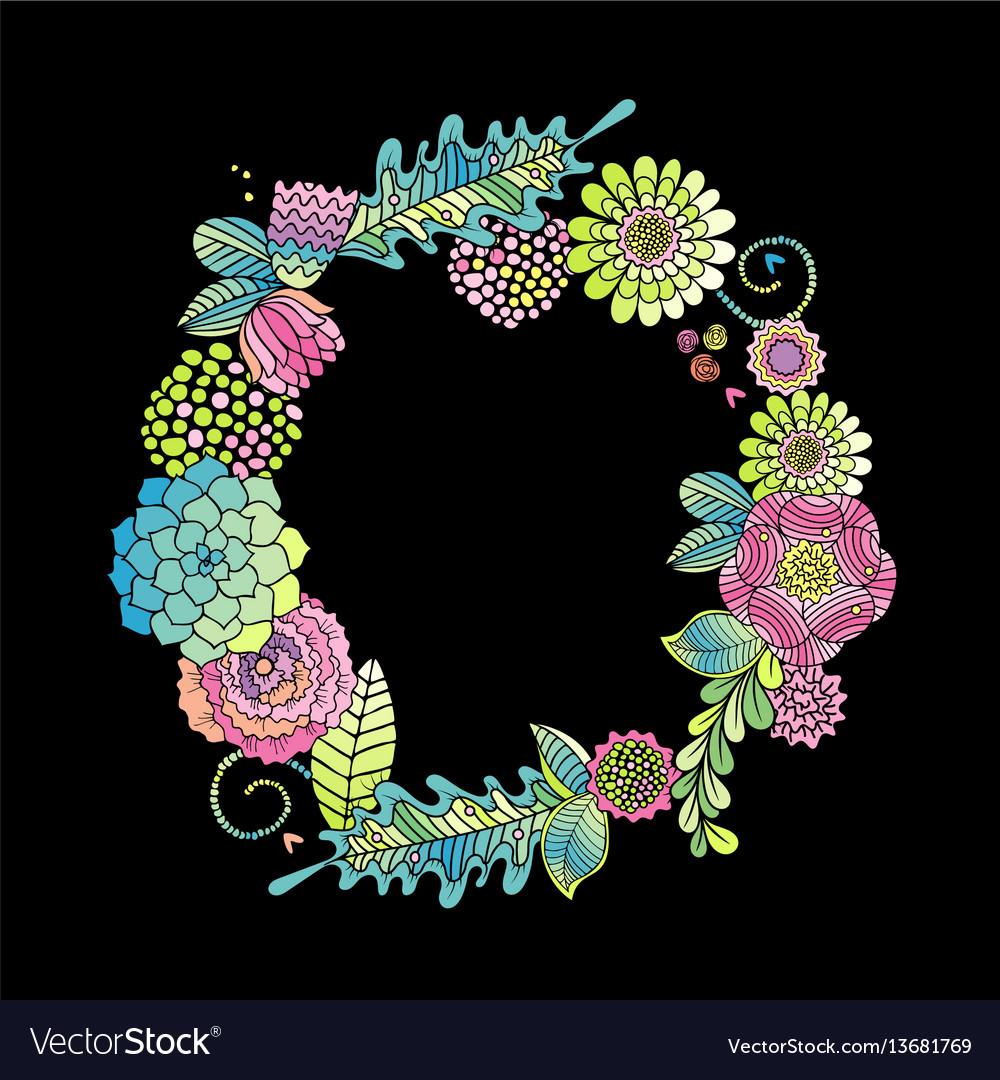 Floral frame succulent rose leaves card vector image