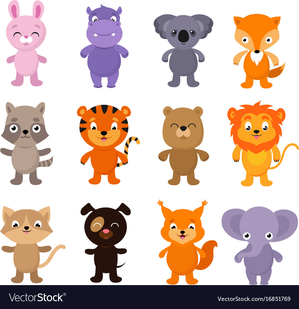 funny cartoon young animals characters royalty free vector. Black Bedroom Furniture Sets. Home Design Ideas