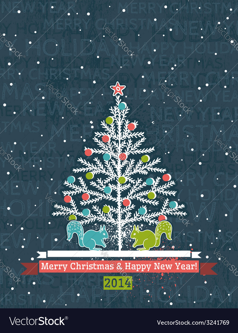 Grunge grey background with christmas tree
