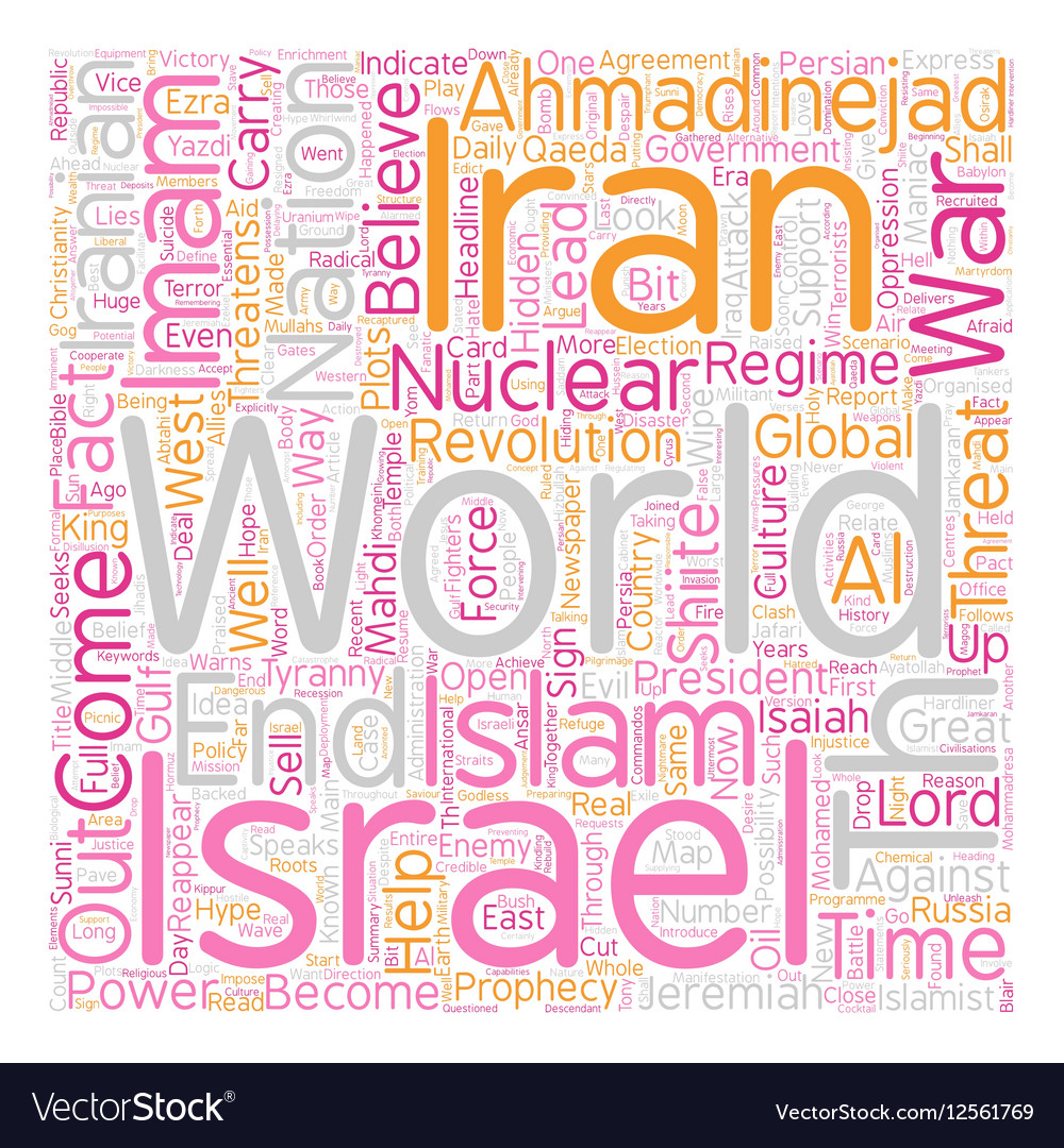 Iran Israel the th Imam text background wordcloud