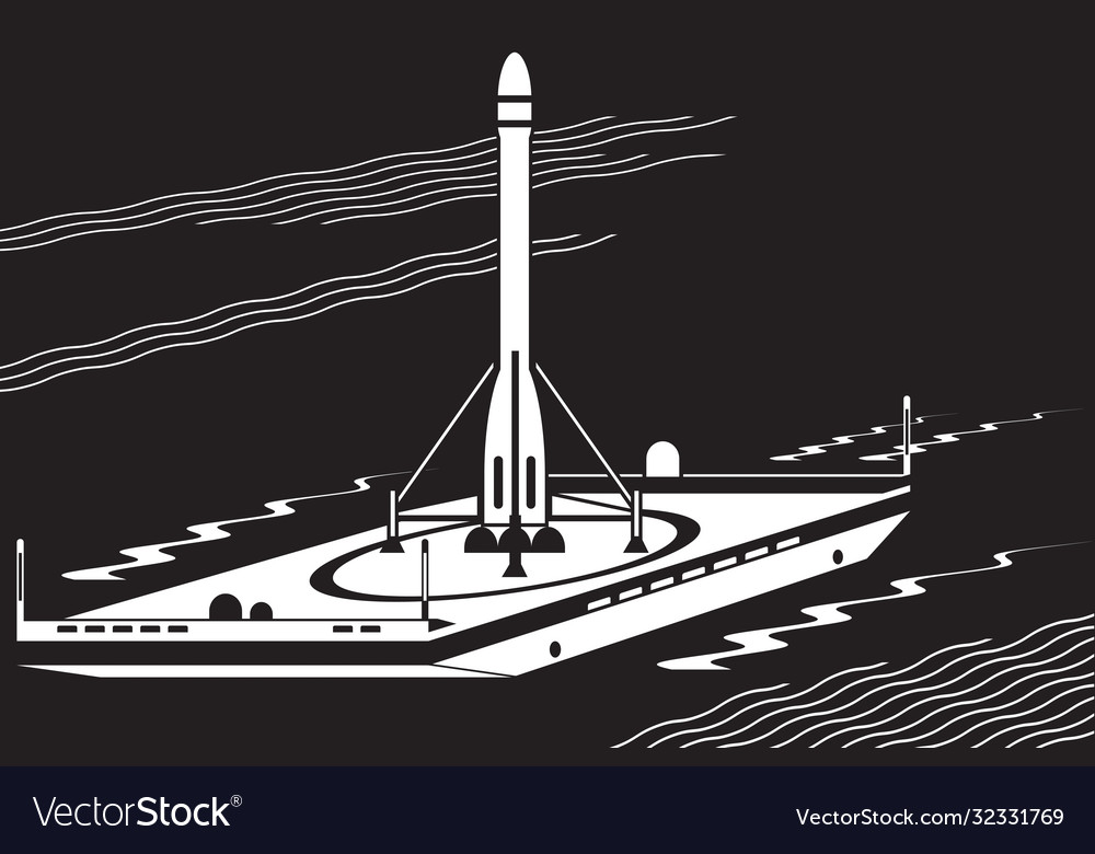 Launch space rocket from sea platform