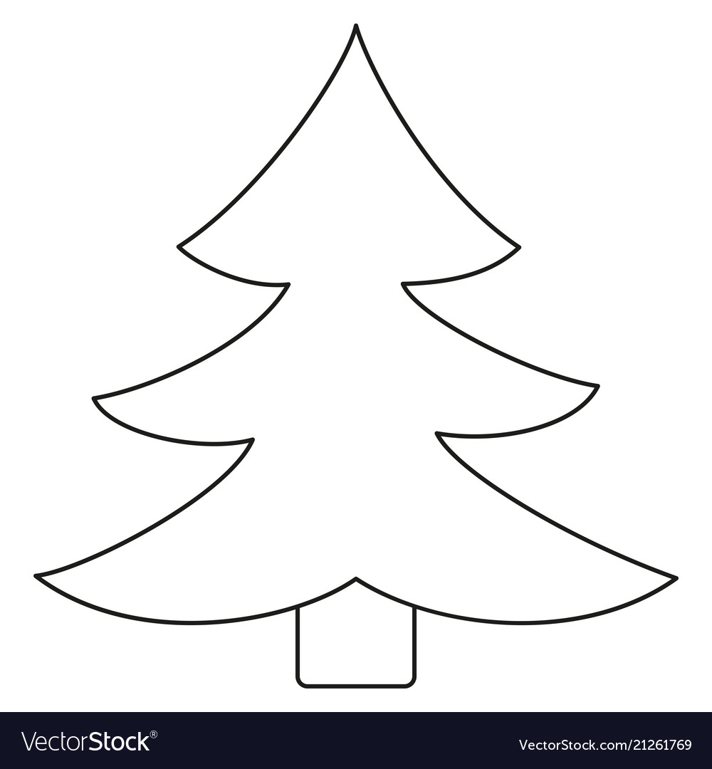 Line Art Black And White Fir Tree Royalty Free Vector Image