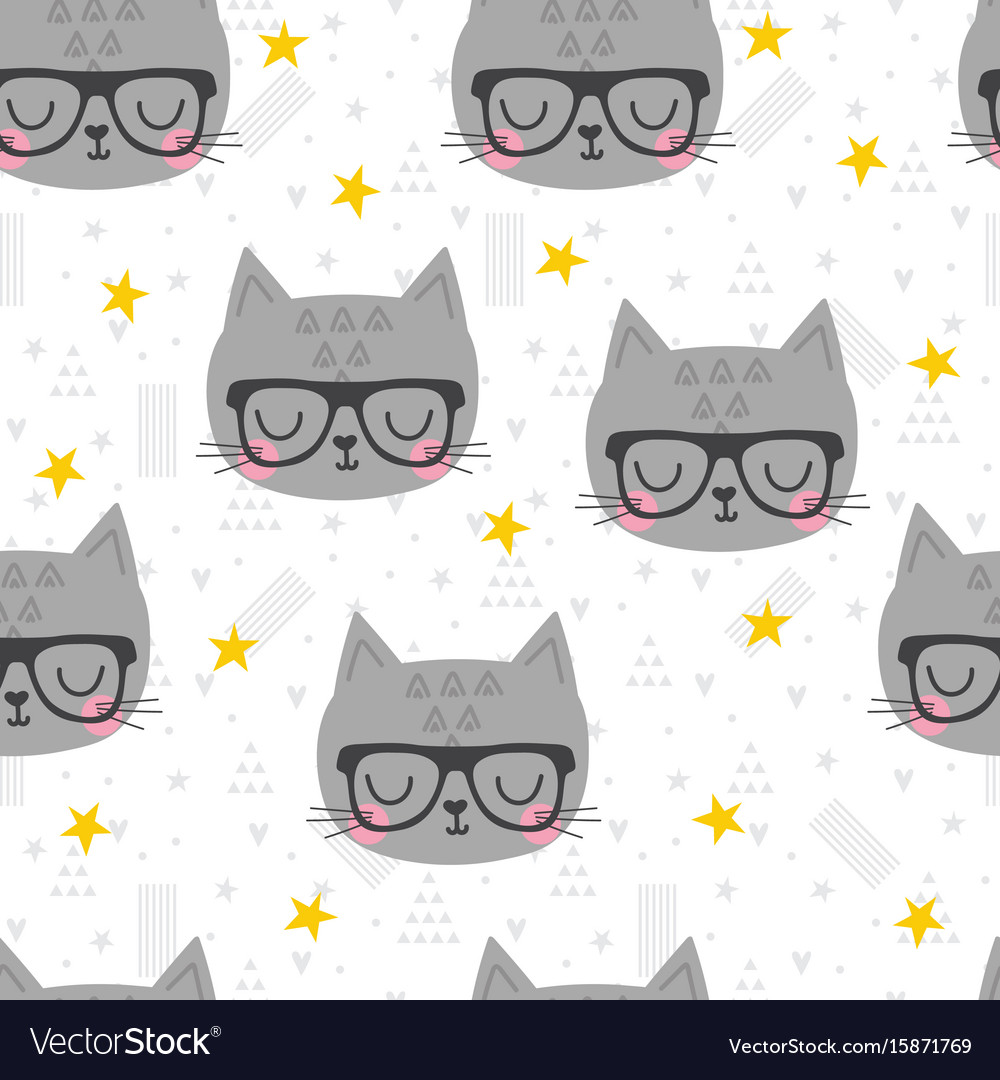 Seamless pattern with cute cartoon little cat