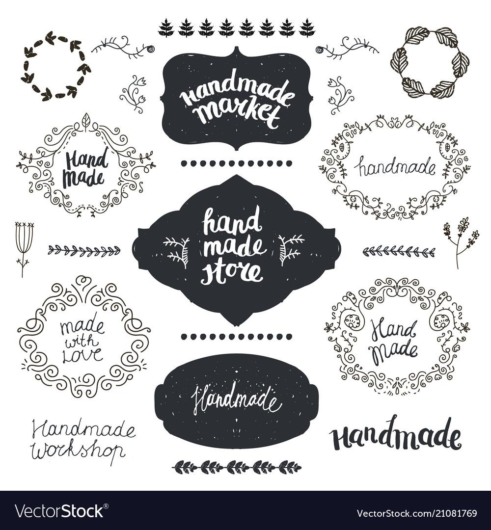 Set of hand drawn doodle frames badges