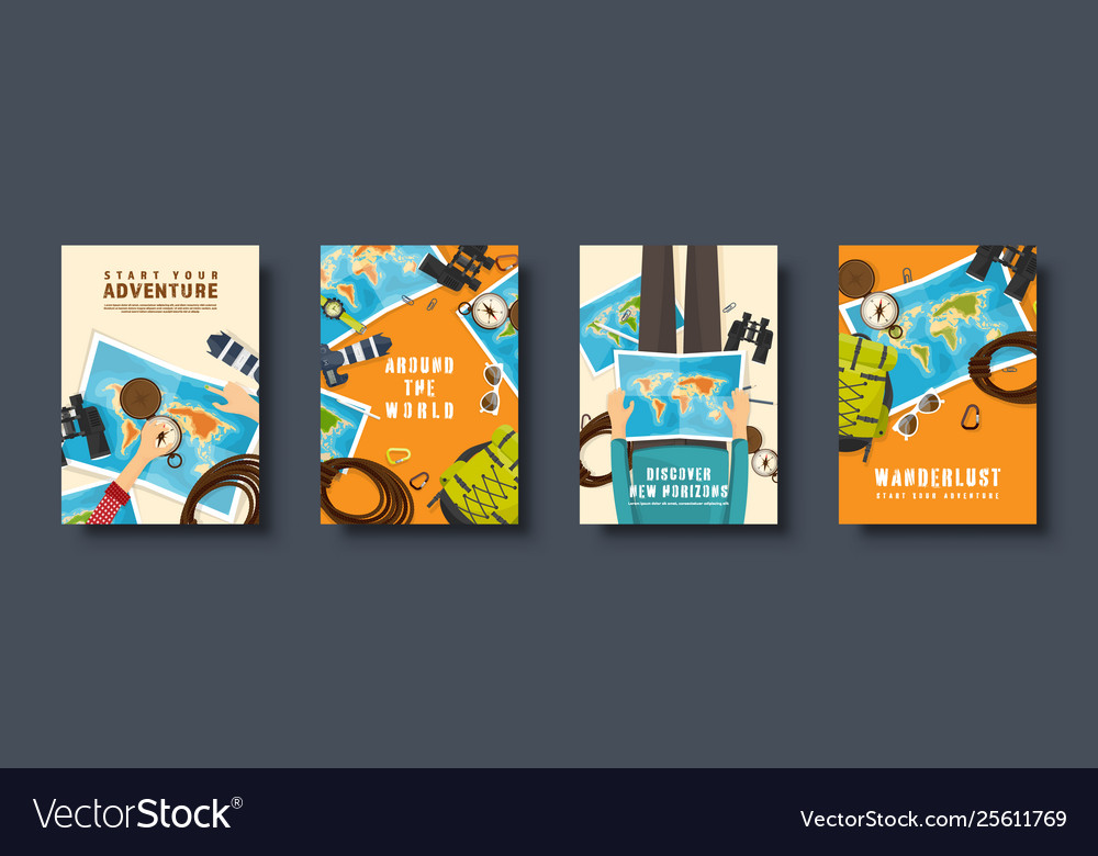 Travel and tourism flat style covers set world