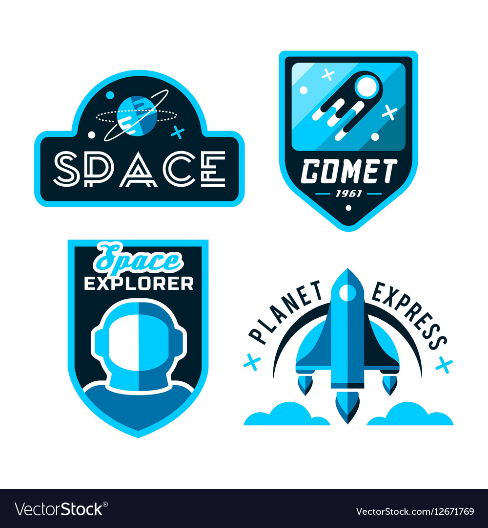 Vintage space and astronaut badges or labels set