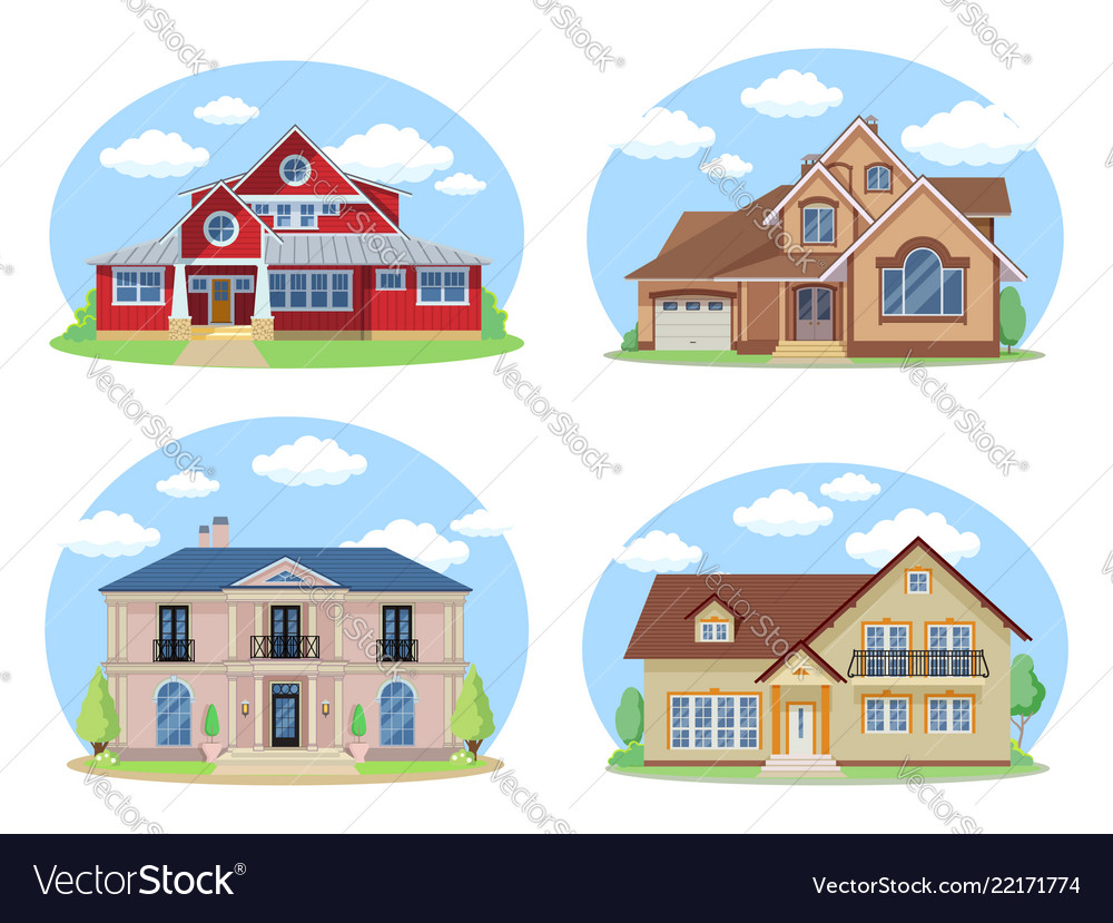 Buildings set flat design houses set