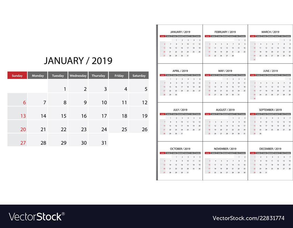 Calendar 2019 week start on sunday