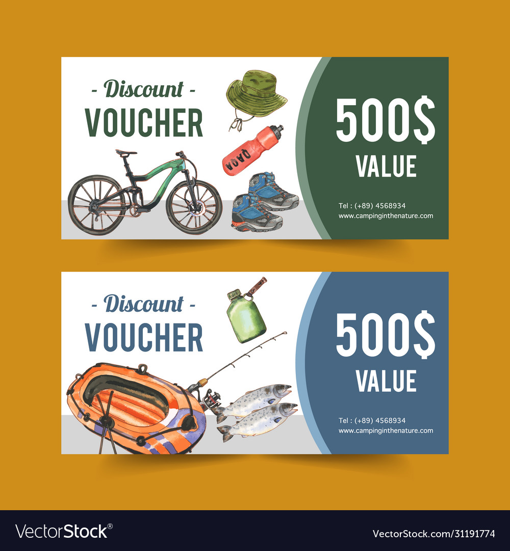 Camping voucher design with hiking boots rod boat