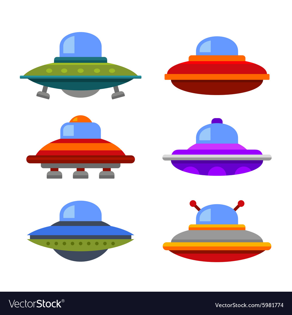 Cartoon Flat Style Ufo Spaceship Icon Set
