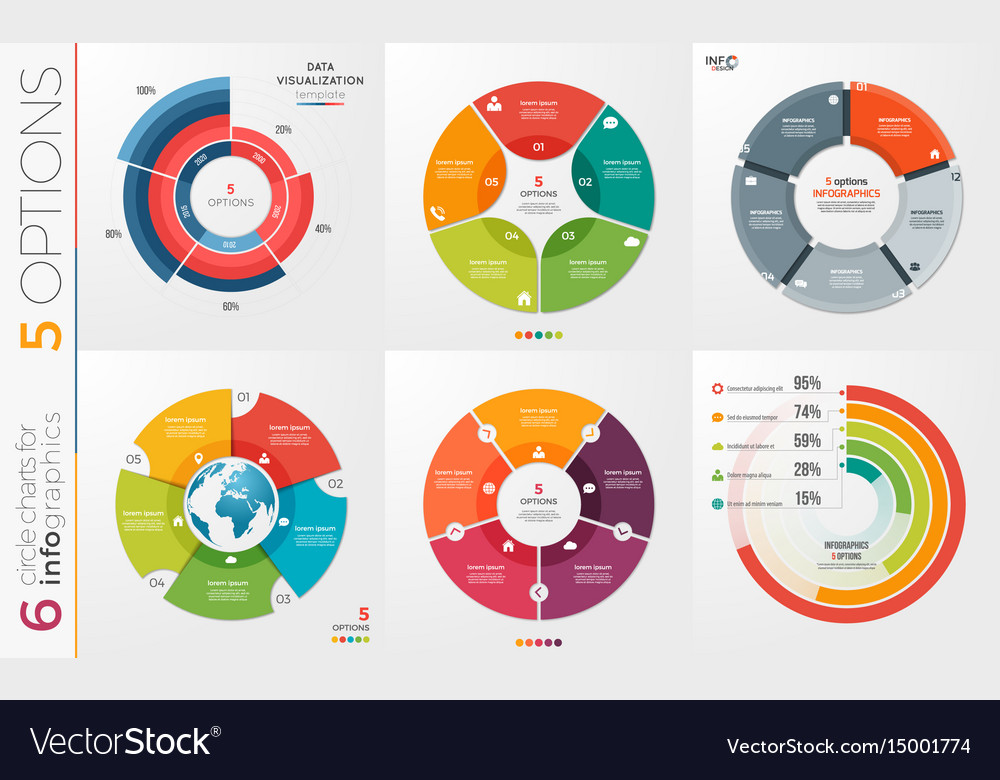 Collection of 6 circle chart templates for