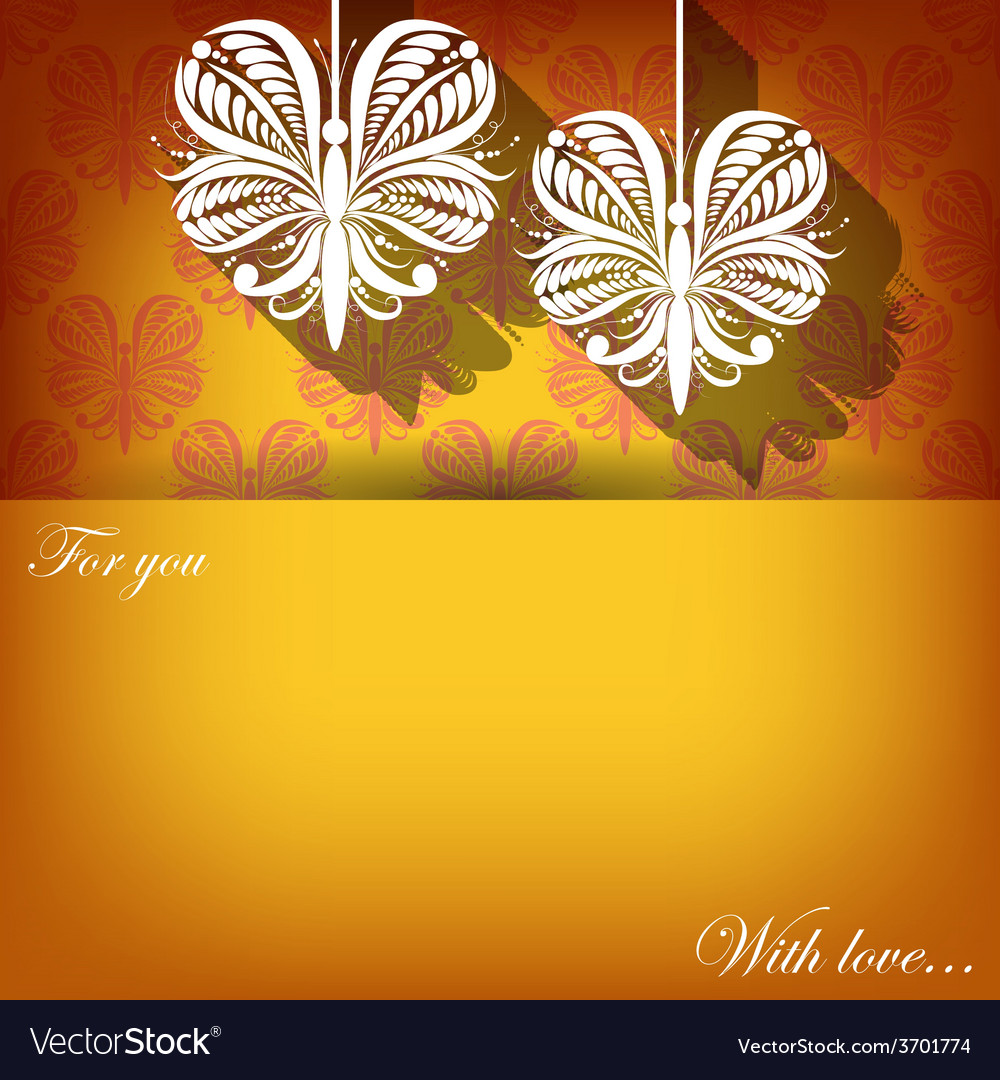 Creeting card with ornament on golden background vector image