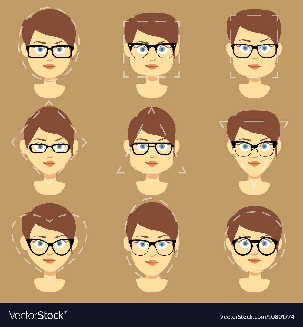 7a3d0a2441 Different glasses shapes suitable for women faces Vector Image