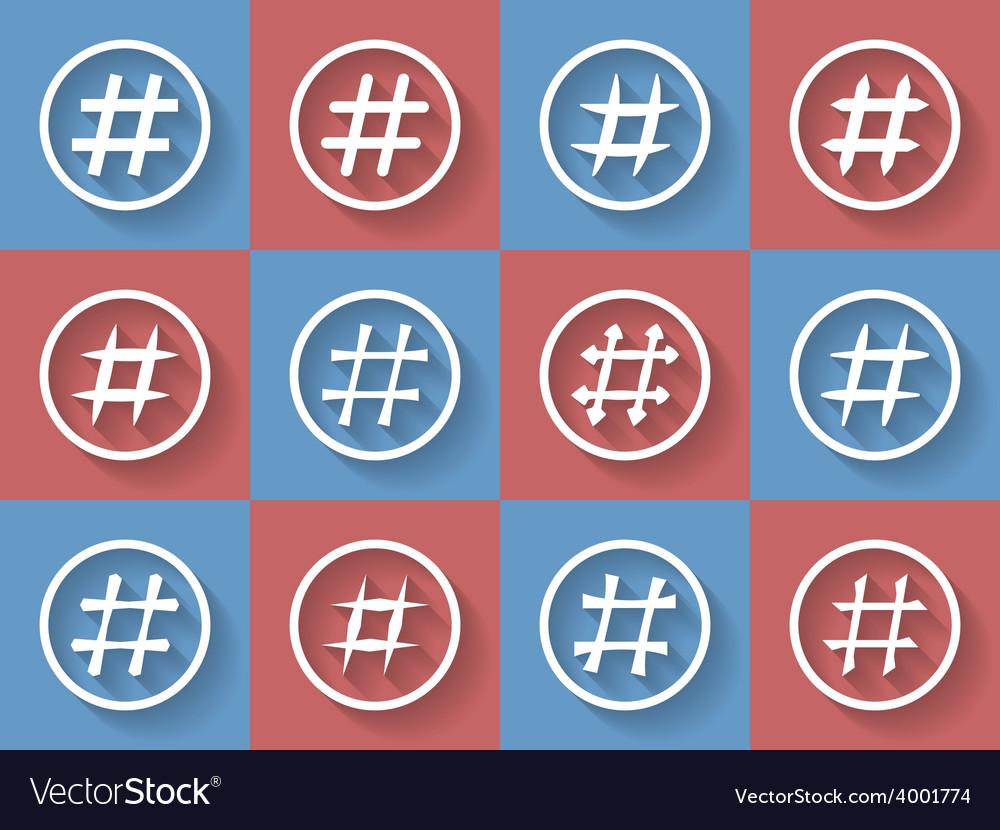 Icon Set of hashtags Hashtag Symbols