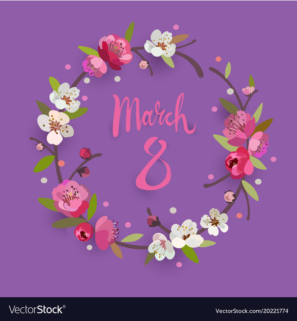 March 8 womens day greeting card with a wreath