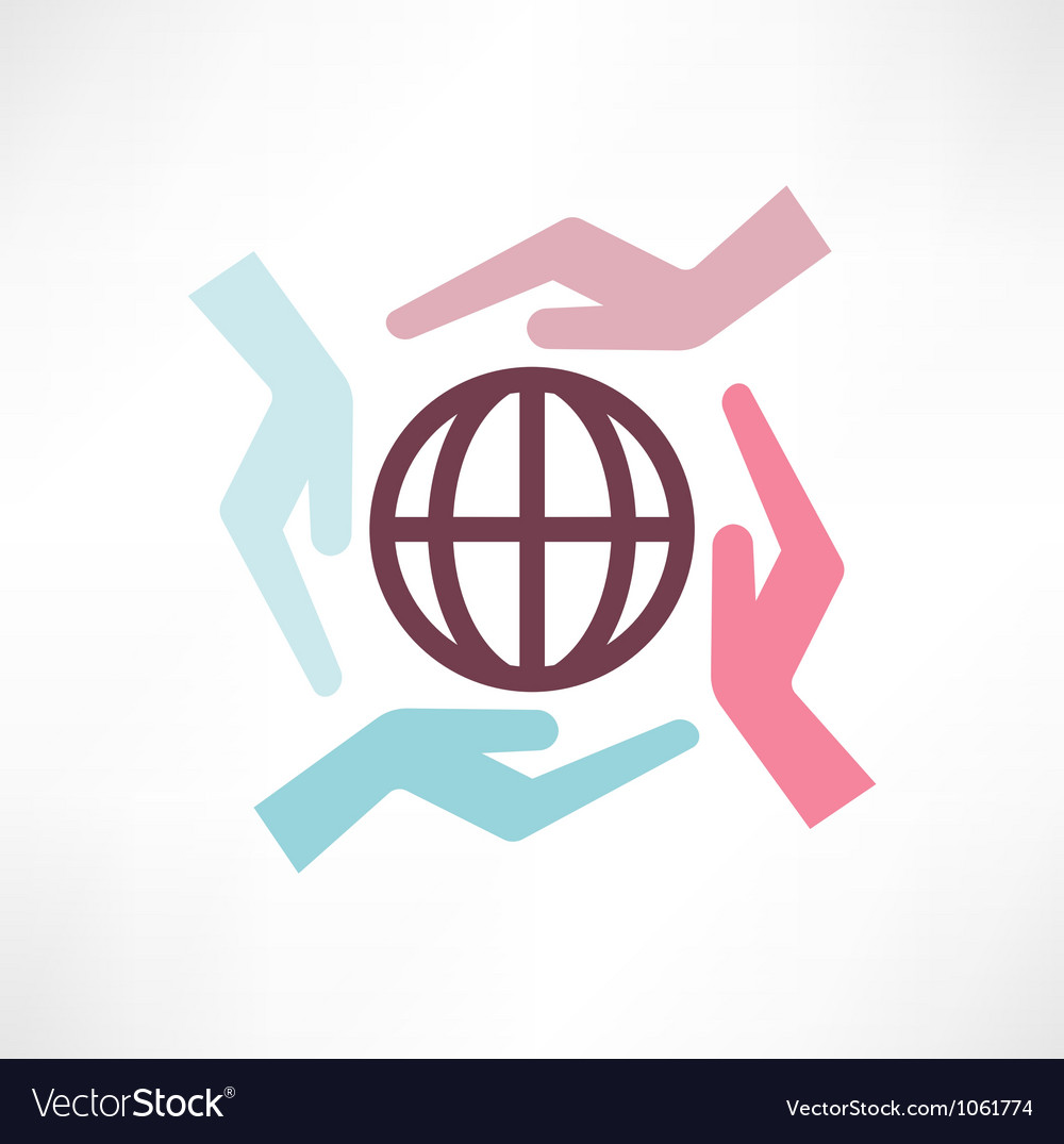 Planet Earth In Hands vector image