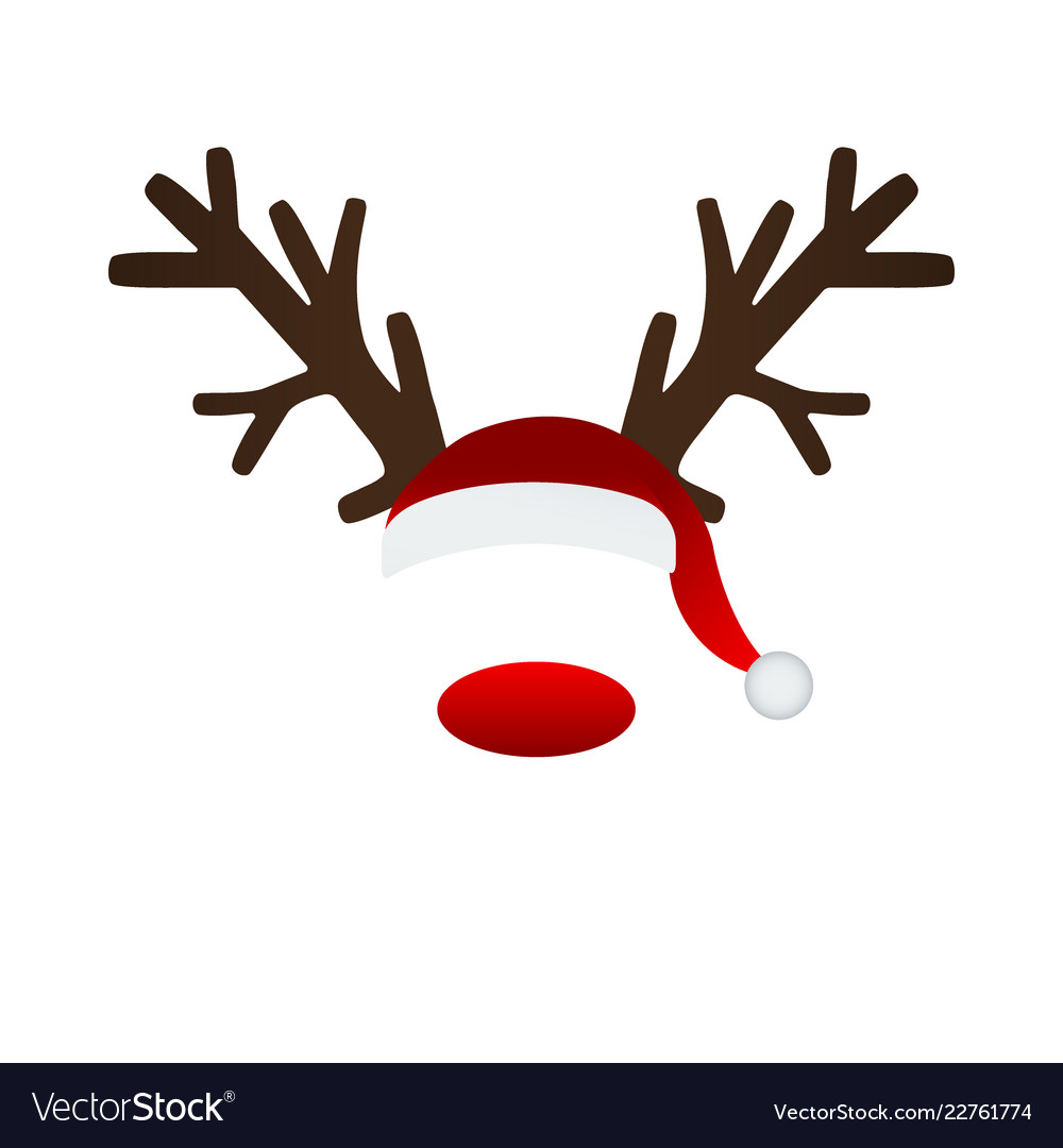 7a73011e6f49e Reindeer antlers and santa hat Royalty Free Vector Image
