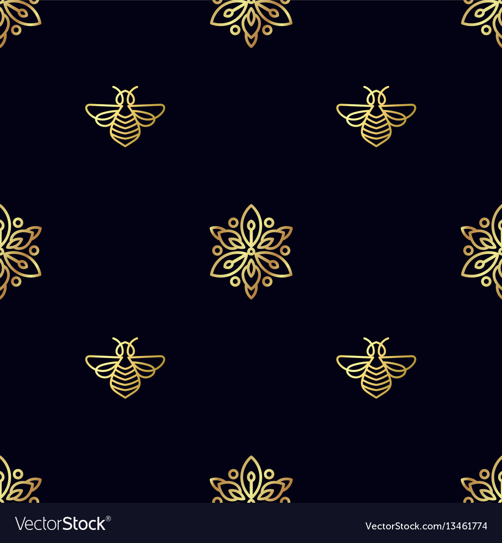 Seamless pattern with gold bee vector image