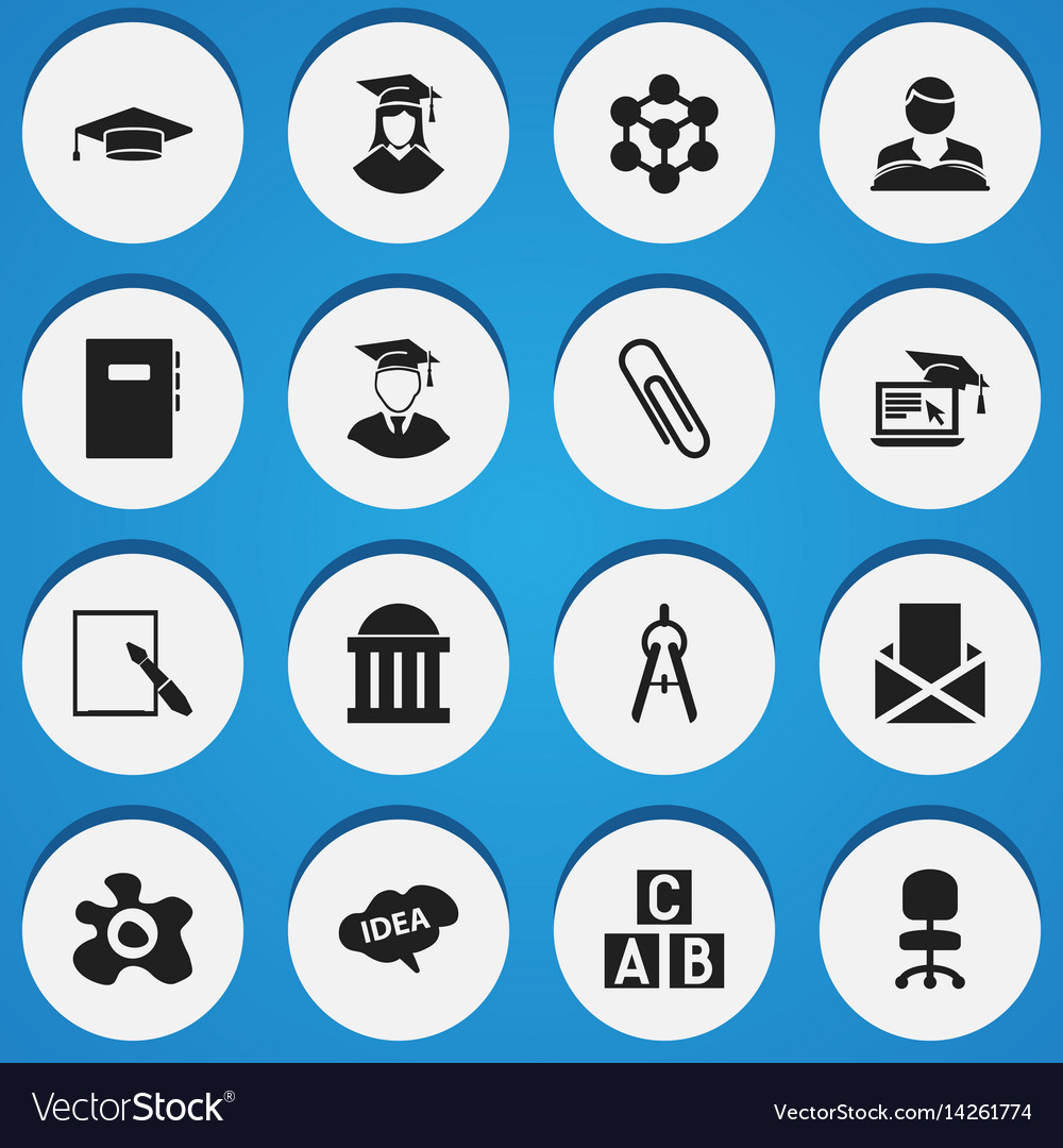 Set of 16 editable school icons includes symbols