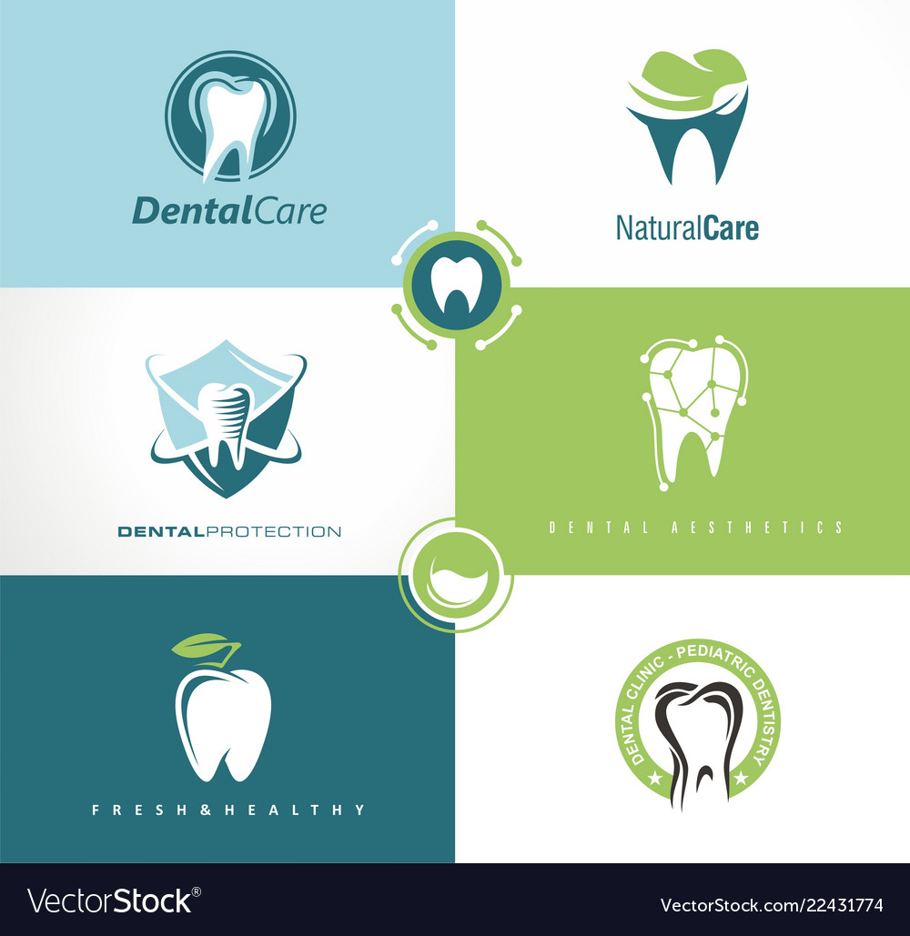 Set of creative logo templates for dental clinic