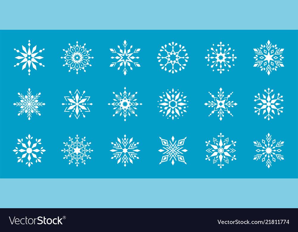Set of snowflakes winter flat decorative elements
