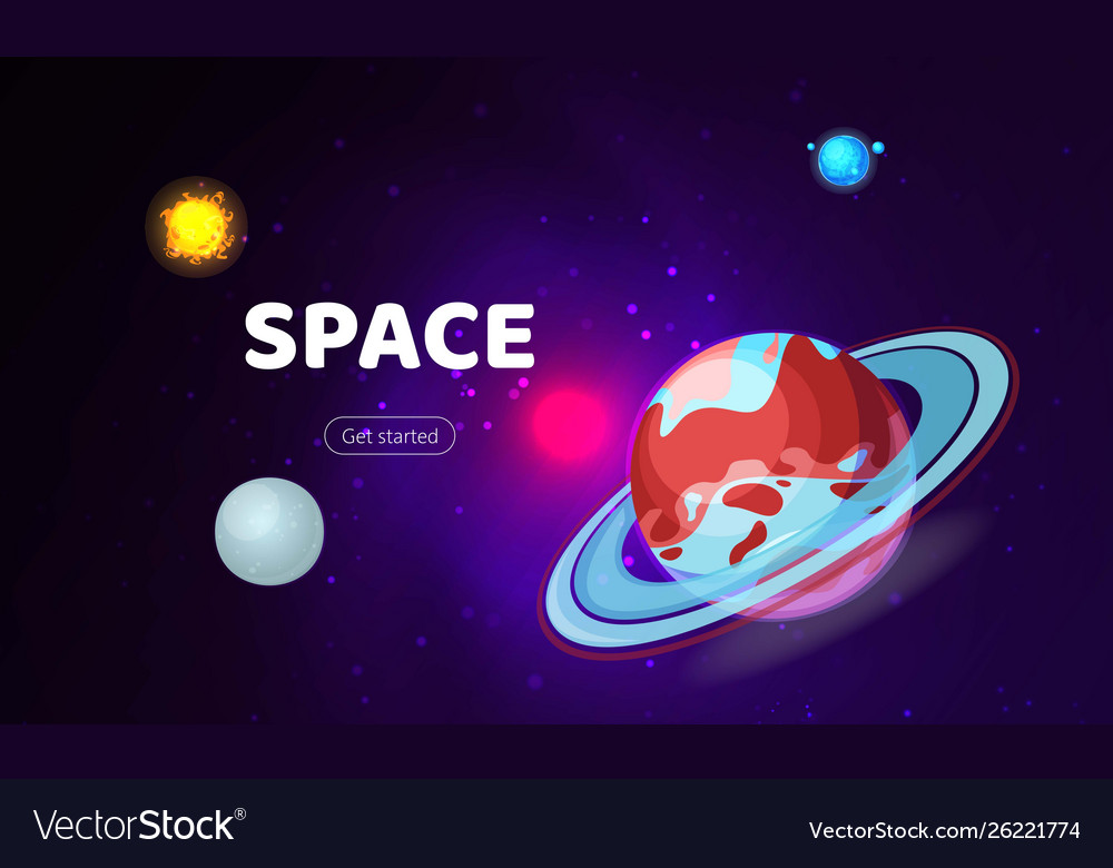 Space background cosmos with planets banner