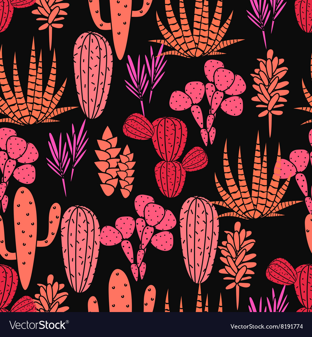 Succulents plant seamless pattern