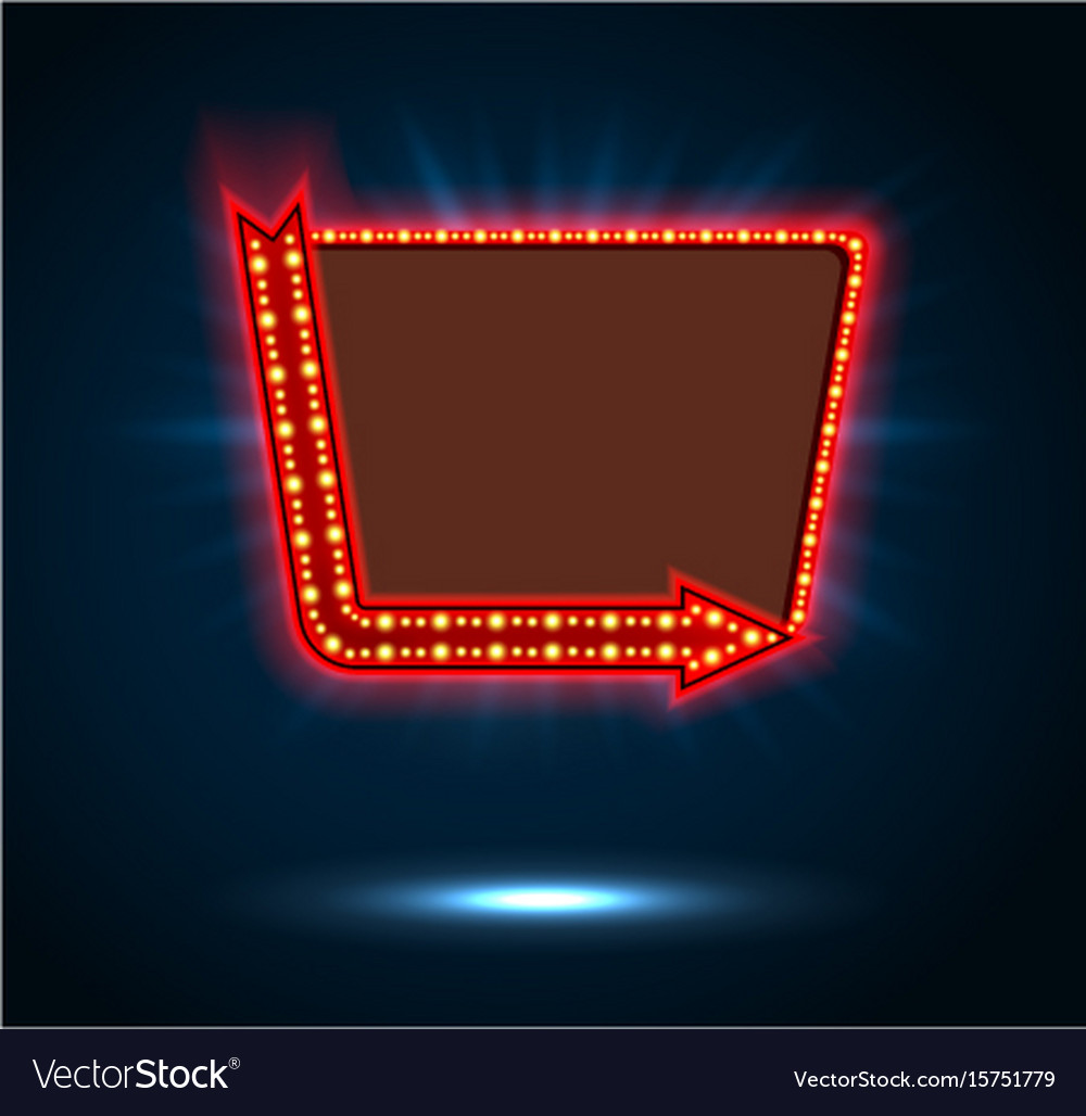 Arrow and billboard sign of shining blue light vector image