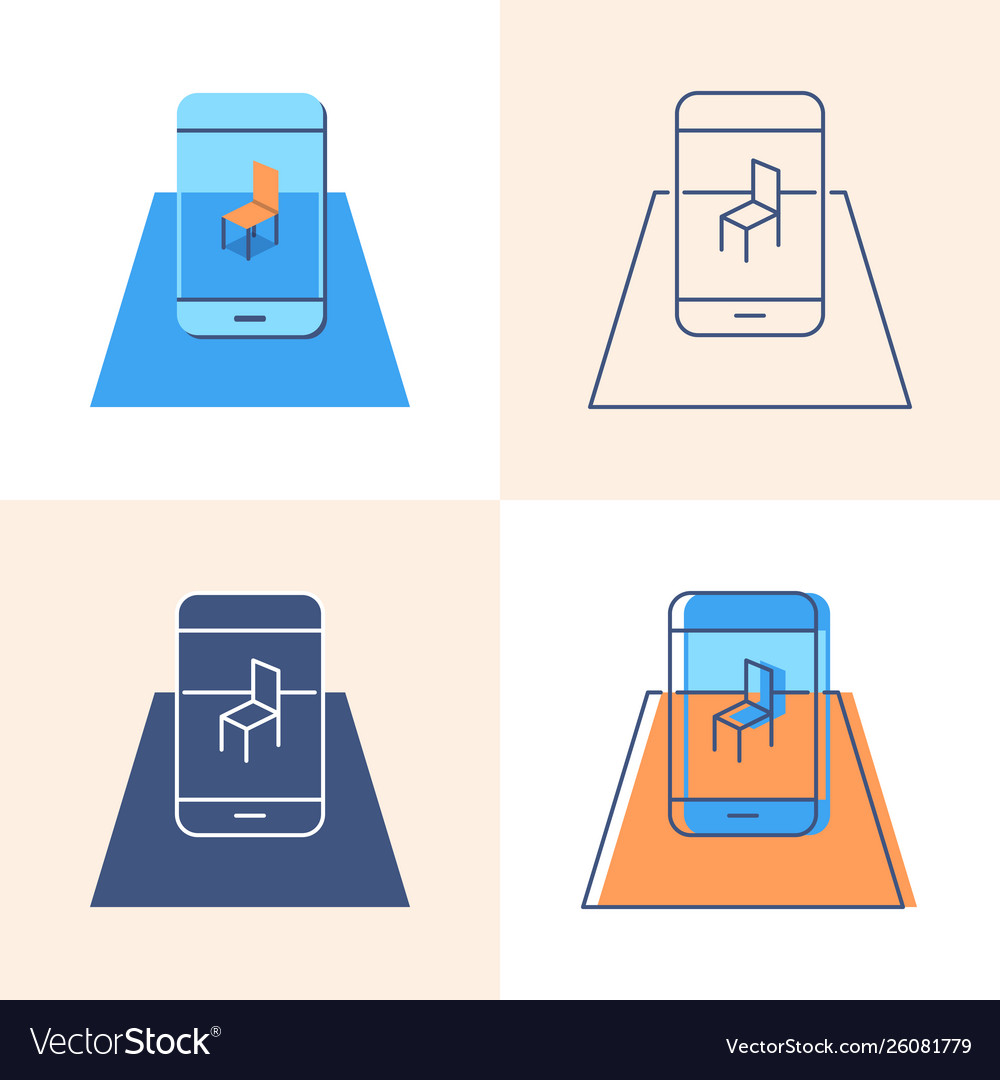 Augmented reality concept icon set in flat and