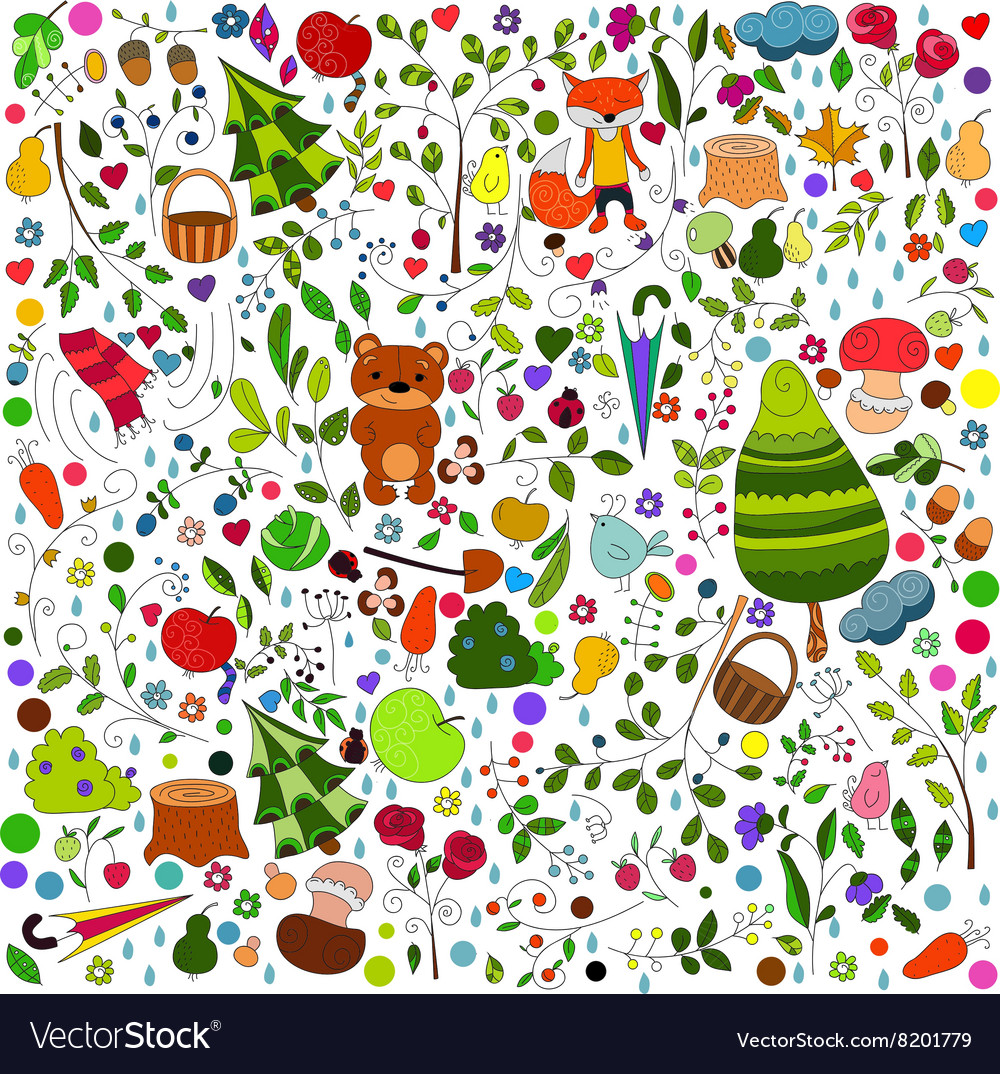 Floral forest background with doodles for textile