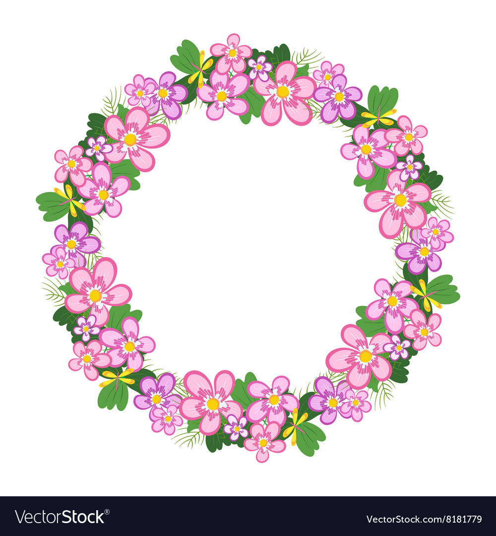 Frame of flowers arranged in a circle