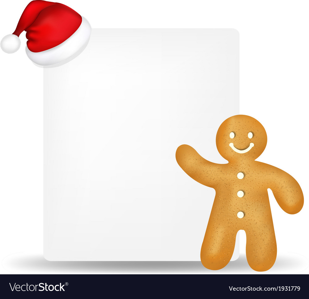 gingerbread with paper and santa hat royalty free vector