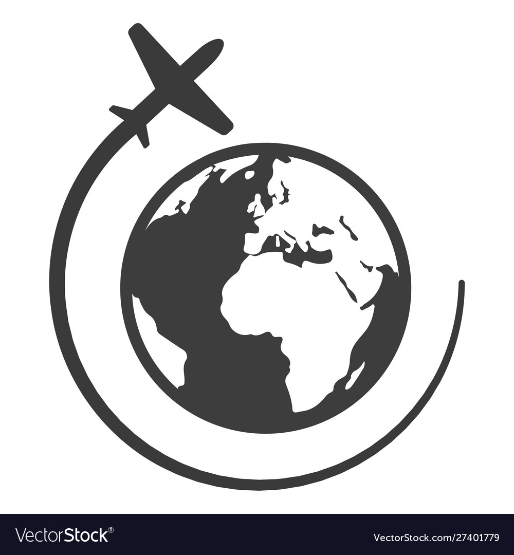 Globe with airplane black icon travel and